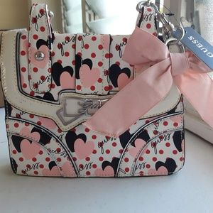 RARE GUESS  HANDBAG Pink Multi Pin up